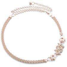 Women Metal Waist Chain Flower Diamante Crystal Ladies Belt Body Belly Gold
