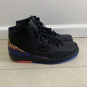 Nike Air Jordan 2 Retro BHM Mens Size 12 Black History Month Blue Black