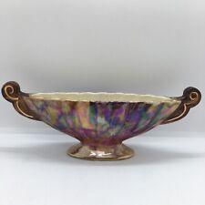 More details for vintage large ornate old court ware multicolour gondula ceramic vase lustre deco
