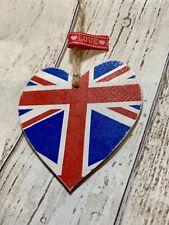 ❤️ Shabby Chic Union Jack 8cm Wooden Heart Keepsake Tag Home Decor Gift