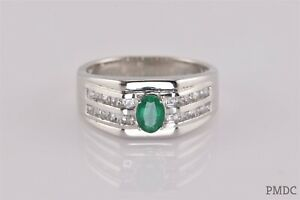 Sterling Silver Green Emerald White Sapphire Hex Faced Band Ring STS 925 Sz: 12