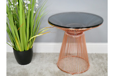 Coffee Side Tables Metal Wire Base Glass Top End Desk Round Telephone Stand New