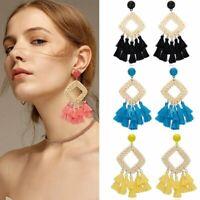 New Fashion Women Bohemian Earrings Long Tassel Fringe Boho Dangle Earrings Gift
