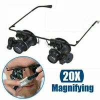 Magnifier Magnifying 20X Eye Glass Loupe Jeweler Watch Repair LED Light Tool NEW