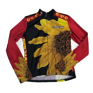 Pearl Izumi Cycling Jersey Womens Full Zip Red Black Floral Long Sleeve USA M