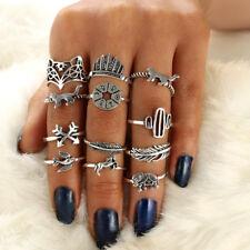 12Pcs/Lot Women Punk Fashion Bohemian Retro Jewelry Finger Rings Accessories