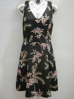 Oasis Black Floral Racer Back Party Races Knee Length Occasion Dress Size 12