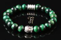 Tigerauge grün glänzend Armband Bracelet Perlenarmband Buddhakopf Silber