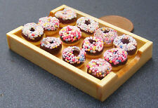 1:12 Chocolate Donuts In A Wooden Tray Doll House Miniature Bakery Accessory 109