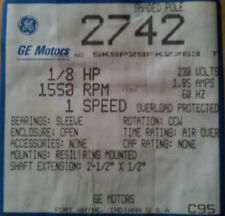 GE 2742 1550 RPM 1/8 HP 1 Speed Shaded Pole Motor NOS