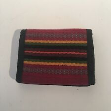 Sarape woven textile handcrafted billfold wallet with hook and Loop closure