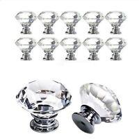 4Pcs 20~40mm Crystal Diamond Glass Pull Handle Door Knob Drawer Cupboard Cabinet