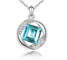 NEW Womens Sky Blue Diamond Crystal Rhinestone Silver Chain Pendant Necklace ---
