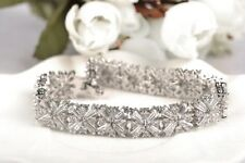 Zircon Mona Liza Women Wedding Bracelet Luxury Shiny Silver Plated Cross Cubic