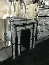 CRUSHED DIAMOND MIRRORED NEST OF 2 TABLES, MIRRORED GLASS SIDE TABLES
