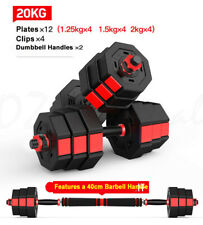 20KG Octagon Vinyl Weight Dumbbell Set with Barbell Bar 4 Easy Clips Black Red