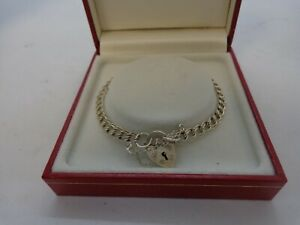 Sterling Silver 925 Charm Bracelet With Heart Lock Fastening Gift Boxed VGC  #96