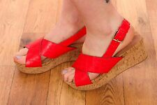 red leather mock croc cork wedge sandals NEXT size 5