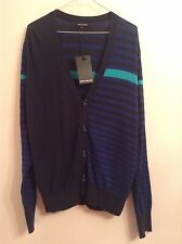 BNWT 100% auth DKNY Men's Striped Cardigan / Jumper With Logo. XL