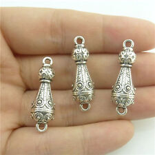 89672 10pcs Charm Carve Flower Leaf Tower Pendant Vintage Silver Alloy Connector