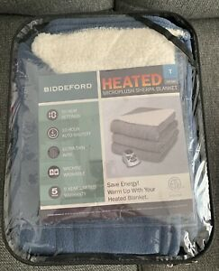 Biddeford MicroPlush Sherpa Electric Heated Blanket Twin Blue