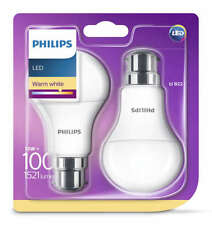 Philips LED 13W 2PK BC Lamps 100Watt Warm White 1521lm 2700K A+ Light Bulbs