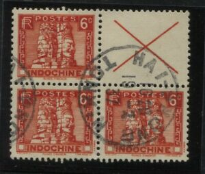 Indo China Sc #155a - Partial used Booklet Pane with 3 Stamps and Label