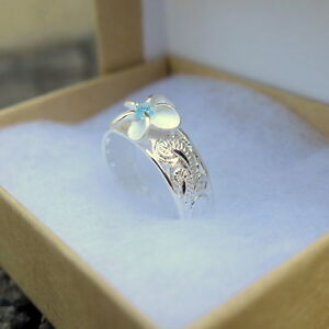 Hawaiian Scrolling See Through 8mm Plumeria with Aqua Blue CZ Toe Ring TR1163