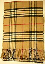 NEW Cashmere Scarf  Camel Beige Plaid Checks Red Stripes Soft Warm Men Women C9