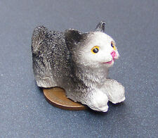 1:12 Scale Black & White Crouching Cat Dolls House Living Room Accessory LK17