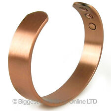 Mens Chunky Magnetic Copper Bracelet 6 Strength Magnet Healing 12mm Cuff