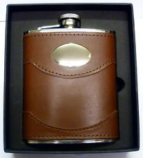 Special Offer: 6oz Brown Leather Hip Flask Captive Lid and Free Engraving (fl30)