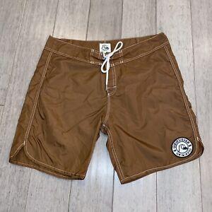 "Mens 34 Quiksilver Board Shorts Swim Trunks Nylon 8"" Brown Surf vtg 69 Originals"