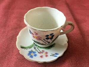 Miniature Cup and Saucer - made in Japan - 3cms high