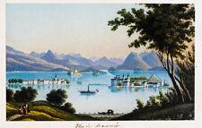 c1870 Lago Maggiore Borromäische Inseln Kolorierte Aquatinta-Ansicht Dikenmann