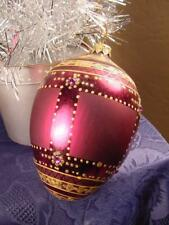 BIG purple GLASS Egg shape CHRISTMAS TREE ORNAMENT sequins gold glittered L@@K