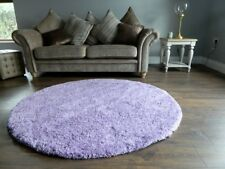 Small X Extra Large Thick Modern 5cm High Pile Plain Soft Non-shed Shaggy Rugs 160 Cms Diameter Circle Red