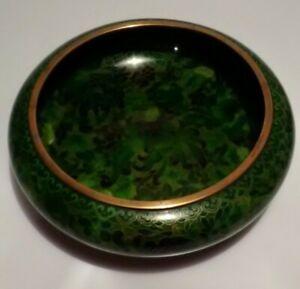Vtg Cloisonne 10'' x 3 '' Chinese Bowl Green Flowers Porcelain Gold Trim /Blue