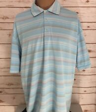 Nike Golf Mens Polo Size L Dri Fit Collard Striped Stretchy S/S Swoosh Baby Blue