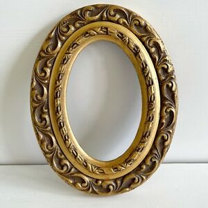 Vintage Antique Hand Carved Wood Frame Oval No Glass Painted Gold 8.5 x 6.5