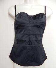 MODA INTERNATIONAL Size 8 Black Satin Bustier Corset Top