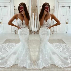 Mermaid Wedding Dresses  Spaghetti Strap Sexy Deep V-Neck Lace Long  Sweep Train