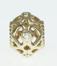 14K Yellow Gold ALE Pandora Open Heart Diamond Charm Bead
