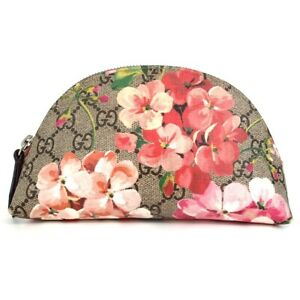 Authentic GUCCI 431380 GG Blooms GG Supreme Cosmetics Pouch PVC coated canva...
