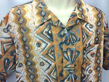 Mesh Hawaiian Camp Shirt M L XL Sexy See Through Disco Abstract Clam Shell Print