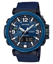 CASIO PRG600YB-2 Pro-Trek Triple Sensor Solar Cloth Band Blue Men's Watch