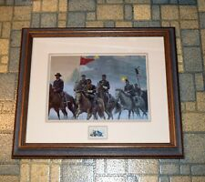 Civil War print with stamp of Morning Riders General John Buford Gettsburg frame