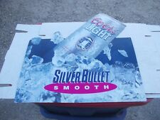 "Coors Light Silver Bullet Smooth Vintage 1992 18"" metal advertising sign display"
