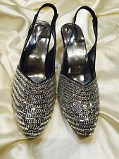 Size 6 Ladies Indian Bollywood Bridal Shoes Heels Slip OnSandals Black Silver S7