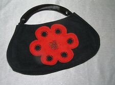 Gently Used Shira Leah Marked Black Felted Wood with Large Red Flower w Beaded